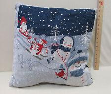 "Christmas Throw Pillow Snowmen Sledding Skiing Blue White Red Cardinal Bird 16"""