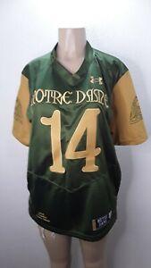 Notre Dame Shamrock Series Football Jersey Under Armour #14 God Country Medium