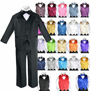 Baby Kid Teen Boys Formal Party 7pc Black Suits Tuxedo Color Satin Vest Tie S-20