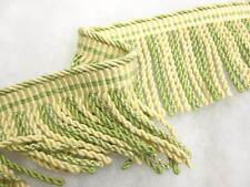 Green & Cream Bullion fringe 9.5cm fabric upholstery trim trimming SOLD PER MT