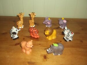 FISHER PRICE LITTLE PEOPLE ZOO/JUNGLE ANIMAL FIGURES  X10 in lovely condition