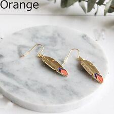 Fashion Vintage Feather Ear Stud Jewelry Earrings Orange