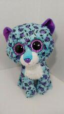 "Ty Beanie Boos plush cat leopard Lizzie blue purple 9"" medium Claire's exclusive"
