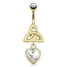 Gold Plated Surgical Steel Belly Piercing Bar With Celtic Knot & Dangle CZ Heart