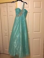 Shimmery, blue ball gown with beaded one shoulder strap