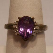*Vintage Antique Estate~Amethyst & Diamonds 925 Sterling Silver Ring Size 8.5