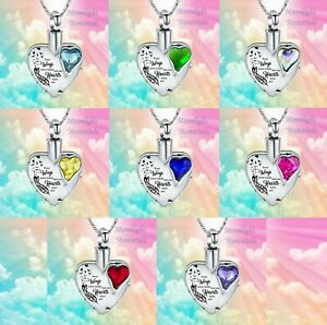 New Your Wings were But My Heart Crystal Urn Ashes Cremation Memorial Necklace