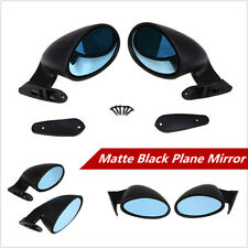 2x Universal California Classic Style Car Door Wing Side View Mirrors Blue Glass