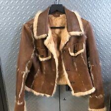 Womens 1970s Deer Skin Buckskin Leather Jacket - Rabbit Lined Coat Boho Hippie S