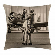 Vintage Airplane Throw Pillow Case Homecoming Square Cushion Cover 16 Inches