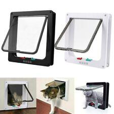 4 Way Pet Cat Kitten Magnetic Lock Lockable Safe Hole Flap Door Gate Frame S/M/L