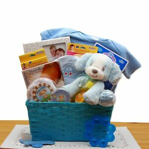 GBDS-Puppy Love New Baby Gift Basket - Blue
