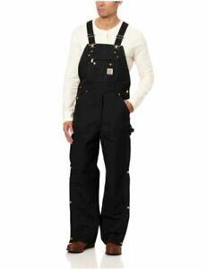 Carhartt Men's Zip To Thigh Bib Overall Unlined,Black,38 x, Black, Size 38 x 34