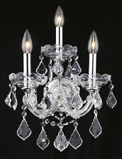 World Capital Maria Theresa 3 Light Crystal Wall Sconce in Chrome