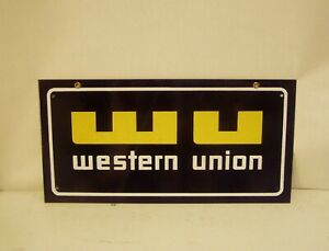 """Western Union Steel Sign, Great Glossy Condition. 8""""x16"""" size"""