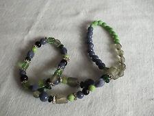 "Beautiful Stretch Bracelet 3 Strand Plum Green Black Beads 1"" Wide NICE"