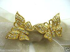 18KGP Butterflies Swarovski Element Austrian Crystal Rhinestone Brooch Pin