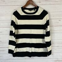 Jeanne Pierre Striped Cotton Pullover Sweater Size Small Black Ivory Pockets