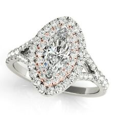 14k ROSE & WHITE GOLD SEMI-MOUNT DIAMOND MARQUISE CUT HALO ENGAGEMENT RING 1ct.