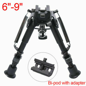 6-9in Foldable Rifle Bipod Picatinny Swivel Rail Hunting Aid Mount + Adapter UK