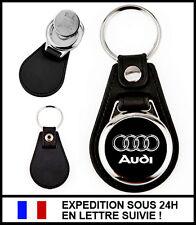 Porte-clé automobile AUDI simili-cuir métal + jeton caddie - Keychain Keyring