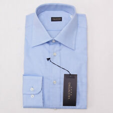 NWT $275 VALENTINO ROMA Sky Blue Woven Cotton Dress Shirt 15.75 x 35 Spread