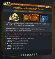 PC - Venator Man-Eater Bounty Hunter - Legendary Fl4k Mod - Borderlands 3 - BL3