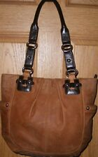 Cool Rustic Two Tone Brown Leather Tignanello Shoulder Bag Purse Dual Straps