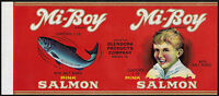 1930's MI-BOY PINK SALMON Paper Can Label -  Warren PA