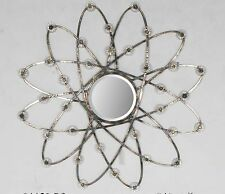 Decorative large swiveled metal round atomic art deco wall mirror