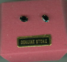 Vintage 14k Solid Gold Dark Blue Sapphire Earrings ~ NIB ~ Butterfly Clutches
