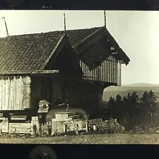Antique Magic Lantern Glass Slide Photo Telemarken Norway Store House