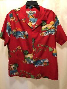 Vtg Shoreline Molokai Oahu Hawaii Maui Made in Hawaii Hawaiian Camp Shirt L