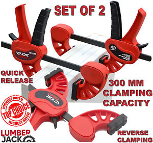 Lumberjack 300mm Bar Clamps & Spreader Heavy Duty One Handed Quick Grip Set of 2