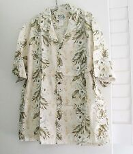 KY's Mens Cream Hawaiian Orchid Short Sleeve Aloha Shirt Sz L - NWOT