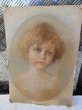 Pastell Gemälde Kinderporträit, um 1900, signiert Helene von Frauendorfer,