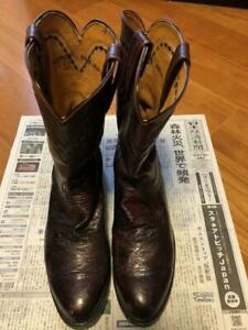 Lucchese Western Boots Shoes Ostrich Leather Sole Black Cherry Men's8 1/2E#M7974