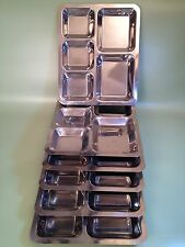 """SIX Stainless Steel 5 Compartment Sectional Food Serving Tray 10"""" x 13""""  EUC"""
