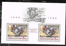 Tchèque Espagnole Guerre Civile 50 Anniversaire Souvenir Feuille 1986 MNH