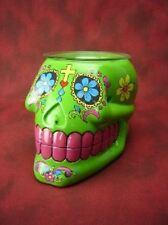 Green Sugar Skull Burner Wax Tart Oil Candle Warmer Electric Polyresin