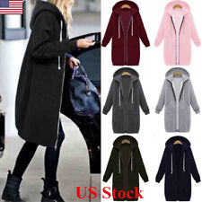 US Women Warm Zipper Hoodie Sweater Hooded Long Jacket Sweatshirt Coat Plus Size