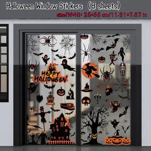 8 Sheets 98pcs Halloween Window Stickers Spider Bats Static Glass Decals