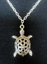 "A Turtle Tortoise (40x24mm) Tibetan Silver Charm Pendant Long 30"" Chain Necklace"