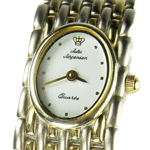 JULES JURGENSEN women's watch Model 7591 Silver and Gold- White dial (SEE VIDEO)
