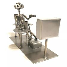 """Scrap Metal Art Steel """" Watching TV """" Scene from Nuts and Bolts"""
