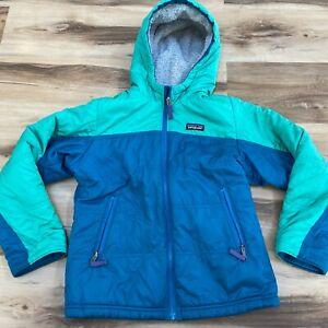Patagonia Girl's Reversible Fuzzy Puff Hoody Green Jacket Coat Size Medium (10)