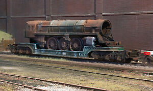 OO heavily rusted and weathered scrapyard 7MT loco on a Trestrol low loader