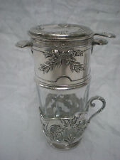 ANCIEN VERRE A THE INFUSION COMPLET METAL ARGENTE ORFEVRERIE GALLIA CHRISTOFLE