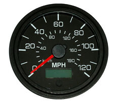 "Speedometer,programmable, 3-3/8""/86mm,120 MPH,LED light, black/black, 001-SP-BB"