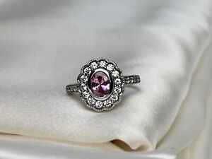Flower Rose Quartz CZ Ring in Rhodium Plated Sterling Silver 925 Hand Crafted